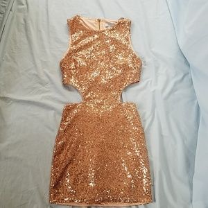 Tobi Rose Gold Sequined Party Dress